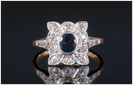 Antique 18ct Gold and Platinum Set Diamond and Sapphire Cluster Ring.