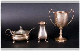A Collection Of Hallmarked Silver Items, 3 in total. Comprises 1.Pepperette, Top Broken,  2.