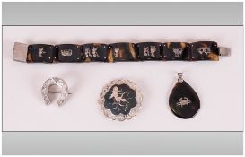 A Small Collection of Vintage Silver and Tortoiseshell Items ( 4 ) In Total.