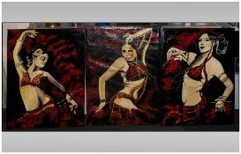 David Hill Makaza Born 1986 Zimbabwean Artist, Three Portraits Of Dancing Girls,
