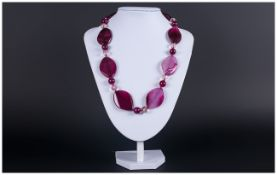 Magenta Agate Necklace, the large, twisted oval, smooth agate stones with striations and shading
