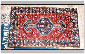 Very Fine Hand Made Bedouin Cashmere Fine Silk Rug/Throw. Measures 36 by 23 inches predominantly red