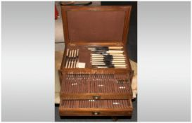 Mottershaw & Rowe Good Quality Boxed ( 92 ) Piece Canteen / Cabinet of Cutlery. c.1940's.