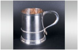 George III Style Silver Mug, Hallmarked For Mappin & Webb London f 1901. Weight 11toz. Odd Dents And