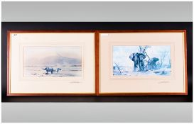 David Shepherd Born 1930 Pencil Signed Pair Of Colour Prints 1. Bull Charge On Then Charge' 2.