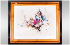 Gordon King Coloured Print 'My Fair Lady' frame & mounted behind glass.