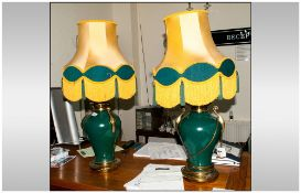 A Pair Of Green Glazed Shaped Pottery Lamps with gilt metal handles & base with a matching silk