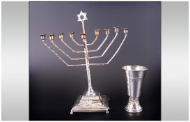 """Judaism Interest Kiddish Silver Cup, 55.7 grams, 4"""" in height. Tests silver."""