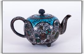 A Late 19th Century Miniature Cloisonne Lidded Teapot. Marks to Underside of Teapot. 2.
