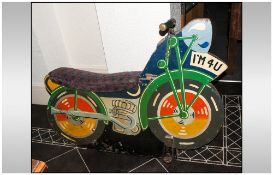 Vintage Fairground Ride Motorcycle . Registration Number I.M.4.U with iron handle bars and grips,