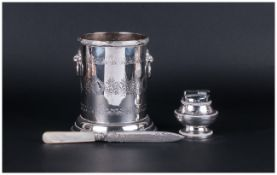 """A Silver Plated On Copper Twin Lion Mask Handle Wine Bucket of good quality. Stands 6.5"""" in height."""