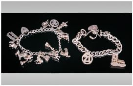 Silver Charm Bracelets, 2 in total. Loaded with 16 charms. Fully Hallmarked. 76.7 Grams.