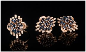 18ct Gold Set Sapphire Cluster Ring with Matching Pair of Clip on 18ct Gold Sapphire Set Earrings.