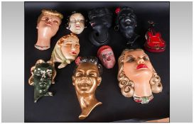 1930's Plaster Wall Mask Of Various Ladies heads Of the Period Decorated plus one mask Churchill