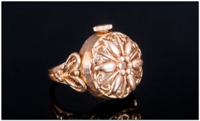 A Vintage Elco 9ct Gold Cased Combined Ring/Watch Marked 3.75 9ct. Excellent condition.