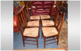 Set Of Six Beech Wood Cottage Style Dining Chairs, With Rush Seats.