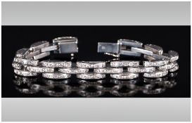 Randel - Art Deco Style White Metal Stone Set Bracelet of Good Quality. 7.5 Inches In Length.