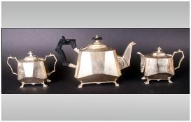 Unusual Art Deco Shaped Three Piece Tea Set Of The Period With faceted sides & sunburst motifs.