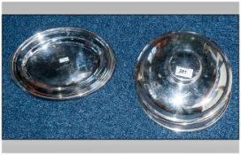 Seven Small Silver Plated Platters Together With 4 Anchor Line Plate Covers