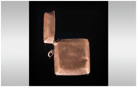 A 9ct Gold Hinged Vesta Case of Plain Form. Hallmark Birmingham 1912. Dings to Case.
