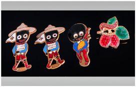 Four Vintage Enamel Roberstons Jam Enamel badges, Fattorini & Sons, 36 Barr St, Birmingham.