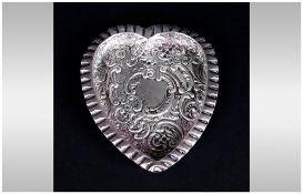 Victorian Heart Shaped and Embossed Silver Bon Bon Dish. Hallmark Birmingham 1896. 4 Inches High.