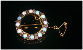 18ct Gold Opal And Diamond Brooch,