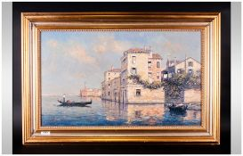 P. Maurice French Artist Signed Oil On Canvas 'Grand Canal' Venice, Framed. 15.