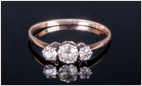 18ct Gold Set Vintage 3 Stone Diamond Ring. Est 50 pts. Unmarked But Tests Gold.