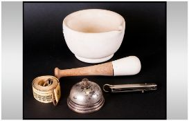 Pestle & Mortar With An Antique Table Bell, Old Steel Pocket Knife & Tape Measure.