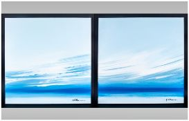 Pair Of Oils On Canvas in the modern style depicting a seascape signed by A.Williams, unframed. Ex