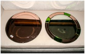 """Two Retro Circular Wall Mirrors from the 1960's. Each 20"""" in diameter."""