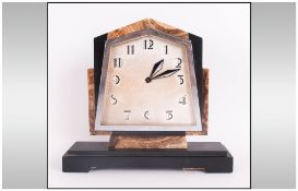 Art Deco Impressive Chrome & Marble 8 Day Mantle Clock with classic art deco lines. Swiss made.