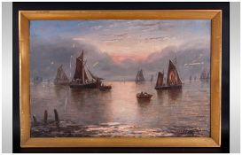 W. H. Day 19th/20th Century Artist ' Seascape ' Oil on Canvas, Signed. 18 x 28 Inches.