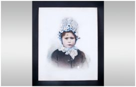 Painted Opaline Glass Panel, Depicting A Young Child. Late 19thC.