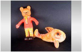 Vintage Steiff Flossy Goldfish from the 1960's around 11 inches long with bitten and old vinyl