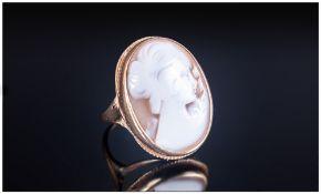 A 9ct Gold Set Cameo Ring Hallmark London 1960. Size P. 7.1 grams.