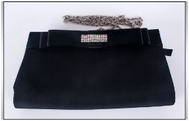 Melluso Italian Evening Handbag with Black Colour way, Set with Diamonte Trim and Silver Coloured