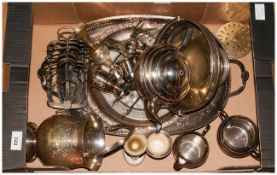 Mixed Lot Of Silver Plated Ware, Comprising Gallery Tray,