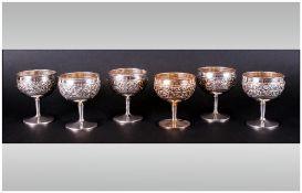 A Fine Set of Six Antique Silver Goblets. c.1900.