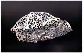 A Well Designed and Attractive SIlver 1950's Handkerchief Shaped Openwork and Pierced Bon Bon Dish,