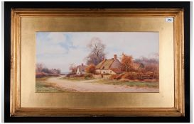 Bunford Joyce 19/20th Century Artist, Thatched Cottage and Landscape View Watercolour.