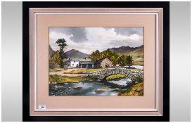 Monica Barry 1917-2014 ' Above Borrow dale Packhorse Bridge ' Over Watendlath Beck Watercolour.