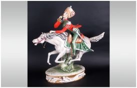 Italian - 20th Century Large Hand Painted Ceramic Sculpture of a 19th Century Napoleonic Military