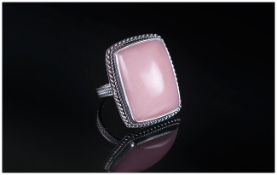 Pink Opal Cabochon Ring, a hand crafted ring with a 30ct solitaire cabochon pink opal,