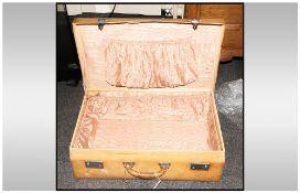 Vintage Pig Skin Watajoy Suitcase with chrome lock plates. Stamped Watajoy, Silk interior.
