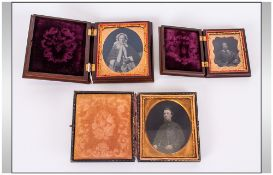 A Fine Collection Of Victorian Daguerreotypes. 3 in total. The invention of the Daguerreotype.