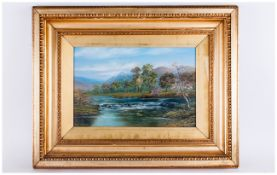 In The Manner of William Mellor - Titled ' River Derwent ' Lake District Oil on Canvas.