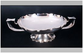 Edward VII Fine Two Handle Pedestal Bowl with Turret Border and Fancy Shaped Base In The Arts and