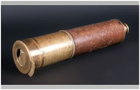 Four Draw Lacquered Brass Telescope. Unmarked With Brown Leather Grip.